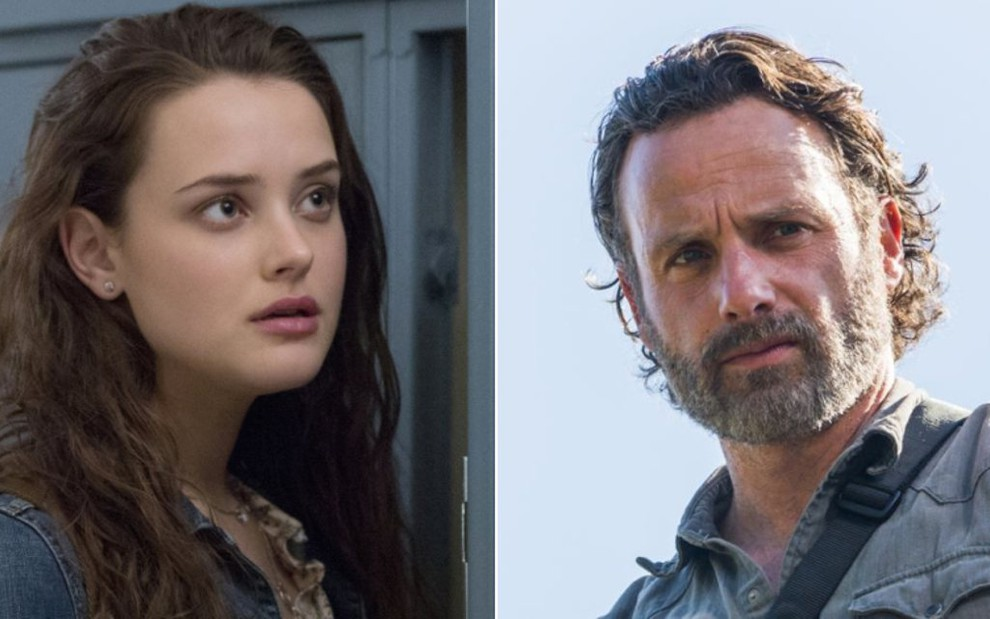 Katherine Langford, de 13 Reasons Why, e Andrew Lincoln, de Walking Dead: hora extra na TV - Divulgação/Netflix/AMC