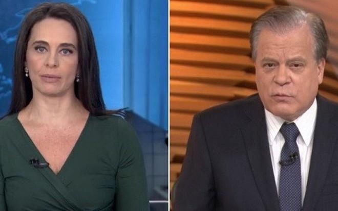 Carla Vilhena no JN de 26 de maio e Chico Pinheiro no Bom Dia Brasil de ontem (22) - Reprodução/TV Globo