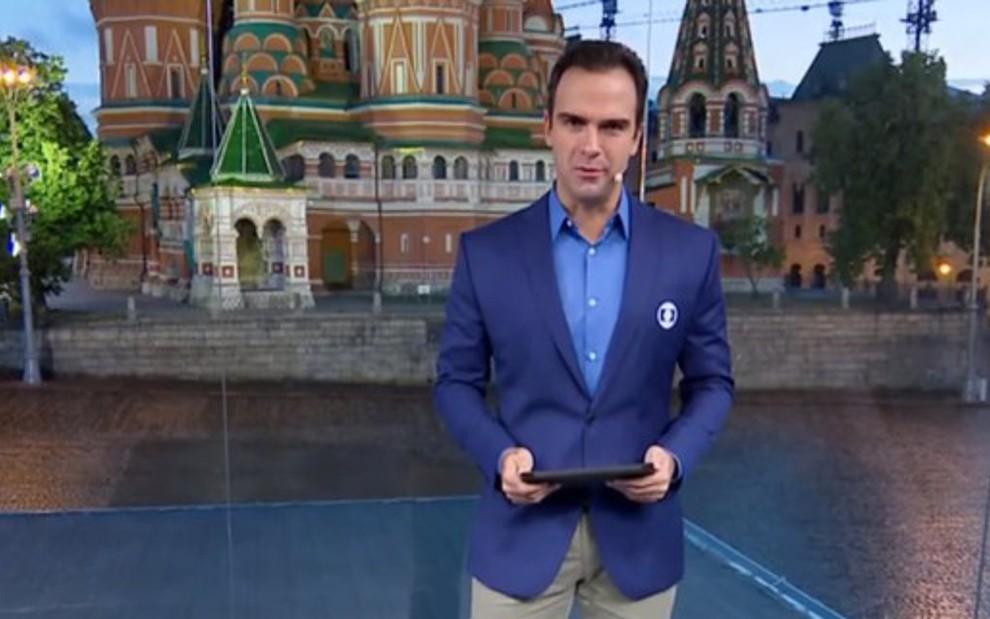 Tadeu Schmidt no estúdio da Globo na Rússia: público desinteressado após queda da seleção - REPRODUÇÃO/TV GLOBO