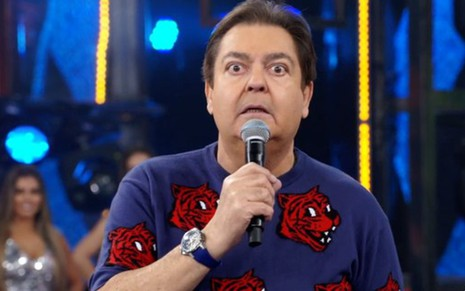 Fausto Silva no programa Domingão do Faustão, exibido no domingo (8)