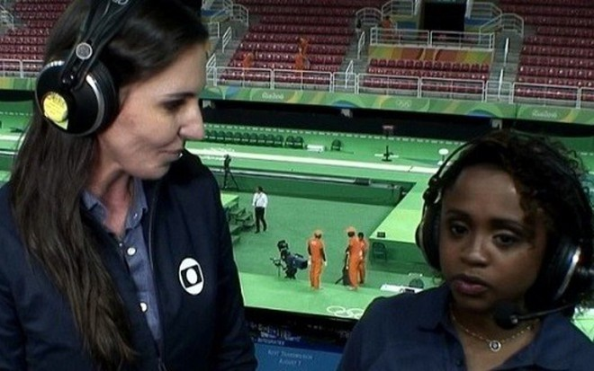 Glenda Kozlowski e Daiane dos Santos na estreia da jornalista como narradora da Rio 2016 - Reprodução/TV Globo