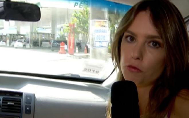 Luiza Zanchetta em reportagem sobre postos de gasolina no Bom Dia SP de 14 de abril - Reprodução/TV Globo
