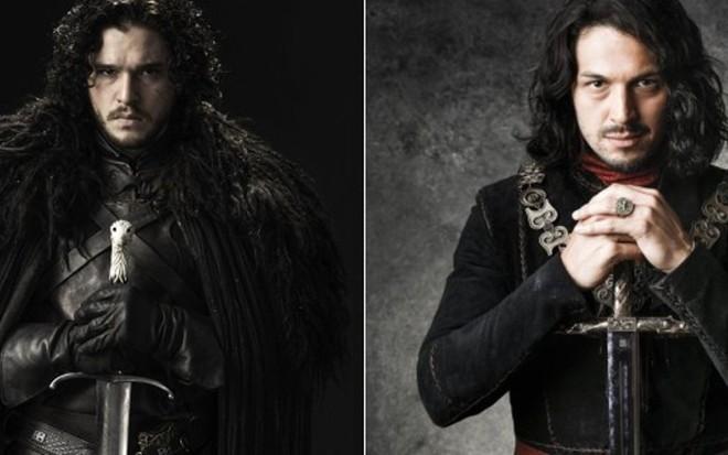 Jon Snow (Kit Harington) e Afonso (Rômulo Estrela): os heróis de GoT e Deus Salve o Rei - Divulgação/HBO/TV Globo