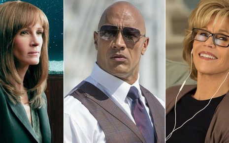 Julia Robers, Dwayne Johnson e Jane Fonda migraram do cinema para as séries na Era de Ouro da TV - Divulgação/Amazon/HBO/Netflix