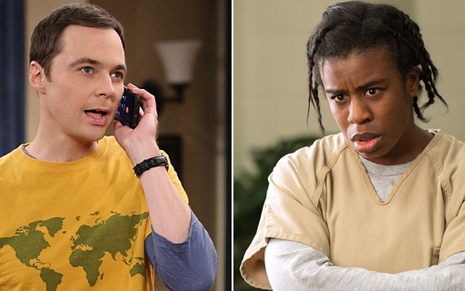 Jim Parsons em Big Bang e Uzo Aduba em Orange Is The New Black; séries duelam no SAG  - Divulgação/CBS/Netflix