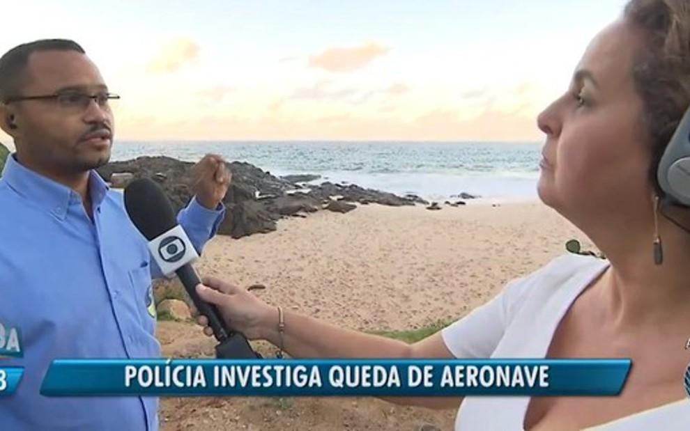 Legenda do Jornal da Manhã noticia investigação de queda de avião em Salvador: acidente não aconteceu - REPRODUÇÃO/TV BAHIA