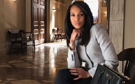 Kerry Washington, como Olivia Pope, no set de How to Get Away with Murder - Divulgação/ABC
