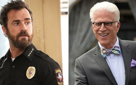 Justin Theroux (à esq.) no drama The Leftovers e Ted Danson na comédia The Good Place - Divulgação/HBO/NBC