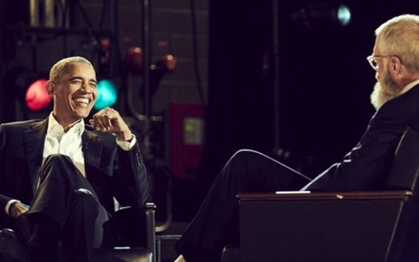 O ex-presidente Barack Obama dá entrevista a David Letterman no novo talk  show da 86d181344c653