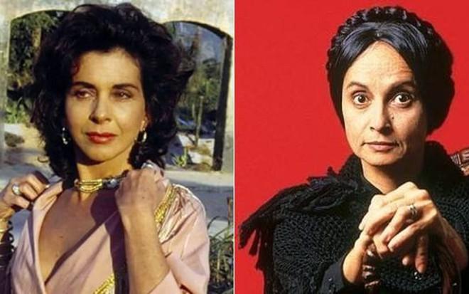 Betty Faria (à esq.) e Joana Fomm interpretaram as irmãs Tieta e Perpétua na novela de 1989 - Imagens: Reprodução/Globo
