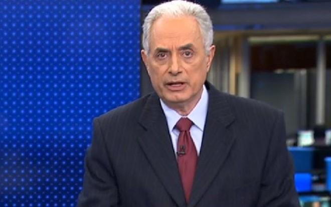 William Waack no Jornal da Globo: jornalista permanece internado no Sírio-Libanês - Reprodução/TV Globo