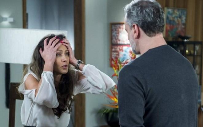 Joyce (Maria Fernanda Cândido) se descontrolará em briga com Eugênio (Dan Stulbach) - Estevam Avellar/TV Globo