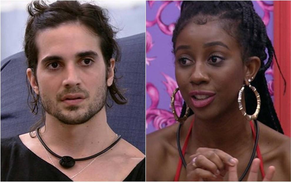 Fiuk olha para frente, ele usa camiseta preta e microfone preto no pescoço; Camilla olha para o lado, ela está com brincos dourados e blusa de alça vermelha