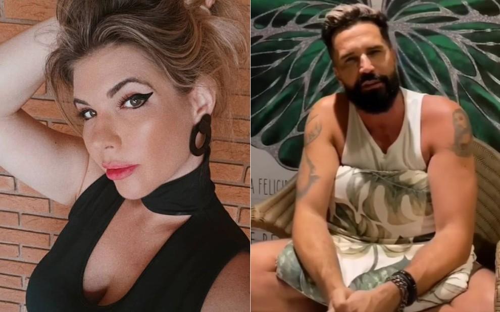 Montagem da cantora Bruna Volpi mexendo no cabelo; e Latino de regata branca e almofada no colo