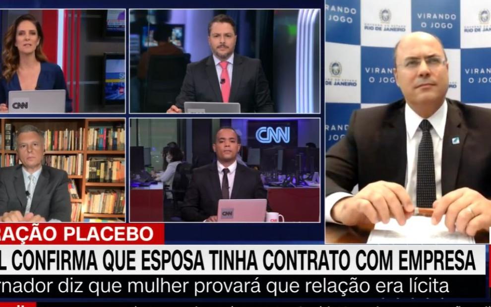 Monalisa Perrone no cenário do Expresso CNN em entrevista com Wilson Witzel