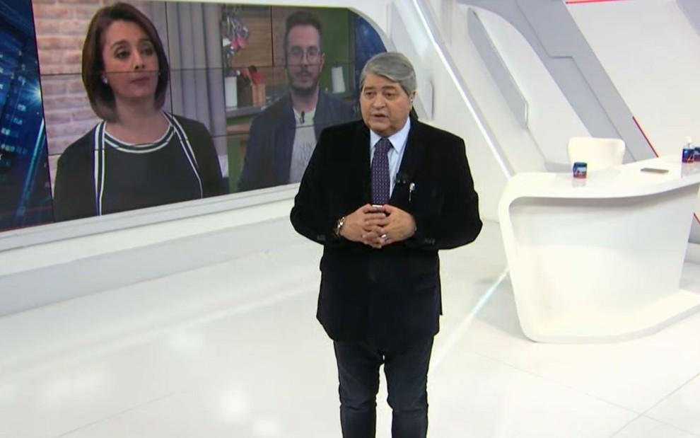 Imagem de José Luiz Datena conversando com Catia Fonseca e André Mantovanni no Brasil Urgente