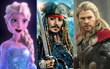 Montagem com Elsa, de Frozen; Jack Sparrow (Johnny Depp), de Piratas do Caribe; e Thor (Chris Hemsworth), dos filmes da Marvel