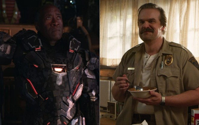 Don Cheadle em Vingadores: Ultimato (2019), e David Harbour em Stranger Things