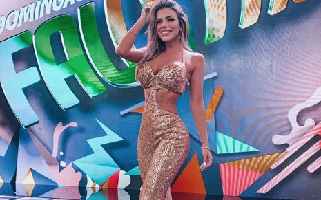 Erika Schneider no palco do Domingão do Faustão, da Globo