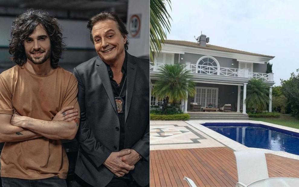 Montagem de fotos com Fábio Jr. e Fiuk, e mansão em Alphaville