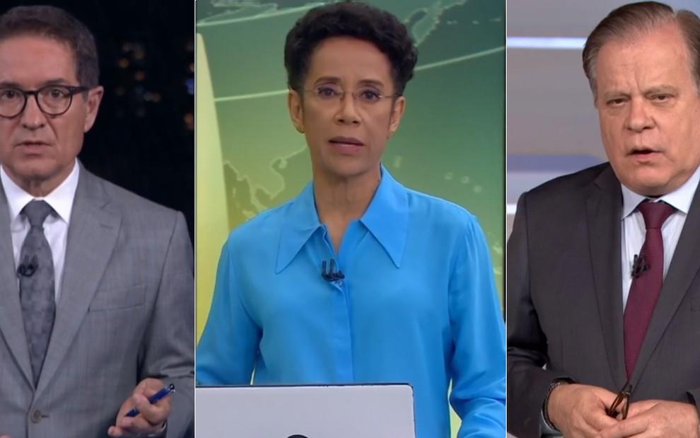 os jornalistas Carlos Tramontina, Zileide Silva e Chico Pinheiro em estúdios de telejornais da TV Globo
