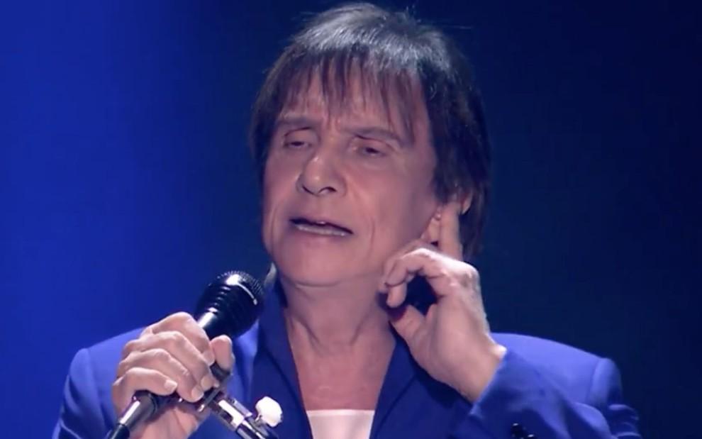 O cantor Roberto Carlos no especial de fim de ano exibido em 2019, na Globo