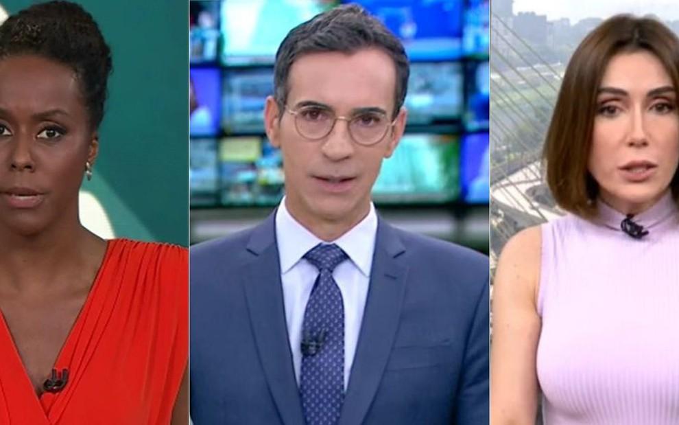 Montagem com fotos dos apresentadores Maria Júlia Coutinho no Fantástico, César Tralli no Jornal Hoje e Michelle Barros no SP1