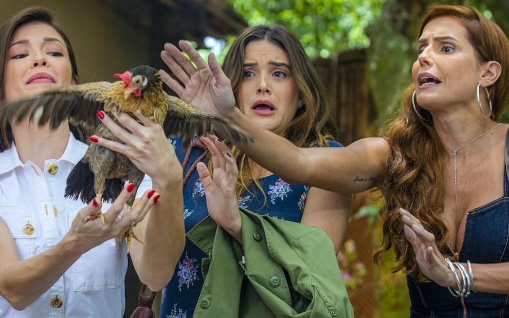 As mocinhas e a galinha Filipa. Foto: Paulo Belote/TV Globo