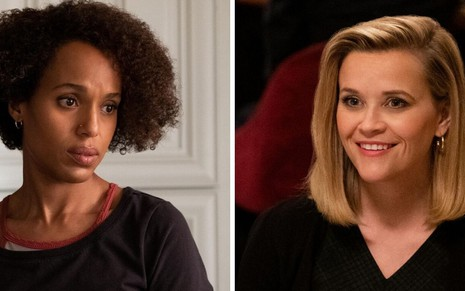 Kerry Washington aparece de cara fechada em LIttle Fires Everywhere; do outro lado está a sorridente Reese Witherspoon