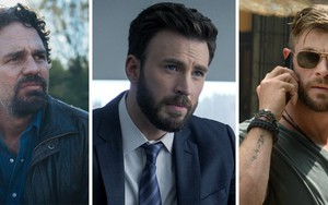 Com visual desleixado, Mark Ruffalo constrata com Chris Evans, mais alinhado; e Chris Hemsworth, de óculos escuto