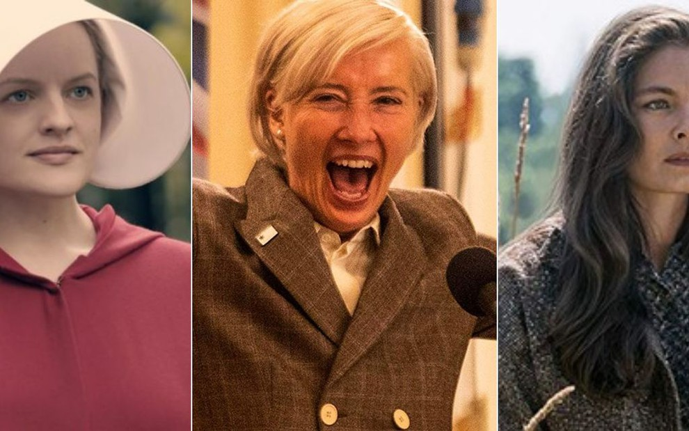 Montagem com Elizabeth Moss em The Handmaid's Tale, Emma Thompson em Years and Years, e Alexa Davalos em The Man In The High Castle