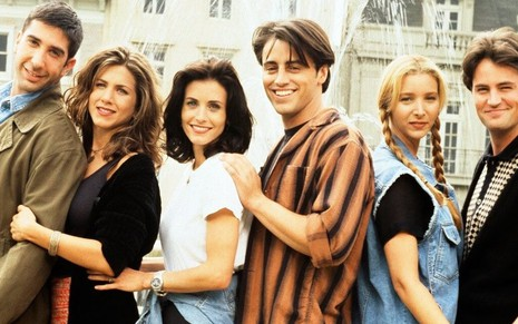 David Schwimmer, Jennifer Aniston, Courteney Cox, Matt LeBlanc, Lisa Kudrow e Matthew Perry em Friends