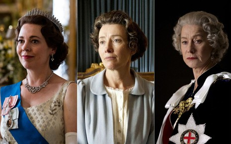 Montagem com Olivia Colman (The Crown), Emma Thompson (Playhouse Presents) e Helen Mirren (A Rainha) caracterizadas como Elizabeth 2ª