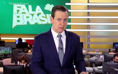 Celso Zucatelli no estúdio do Fala Brasil, da Record