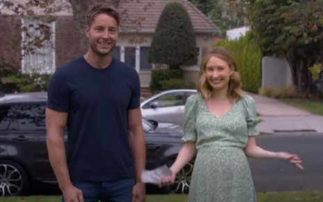 Justin Hartley e Caitlin Thompson em episódio da quinta temporada de This Is Us