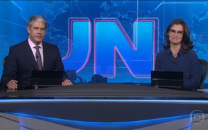 William Bonner e Renata Vasconcellos na bancada do Jornal Nacional