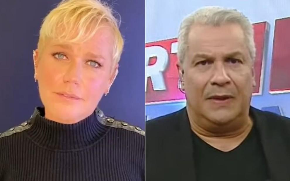 Montagem de fotos com Xuxa Meneghel e Sikêra Jr. em programa na RedeTV!