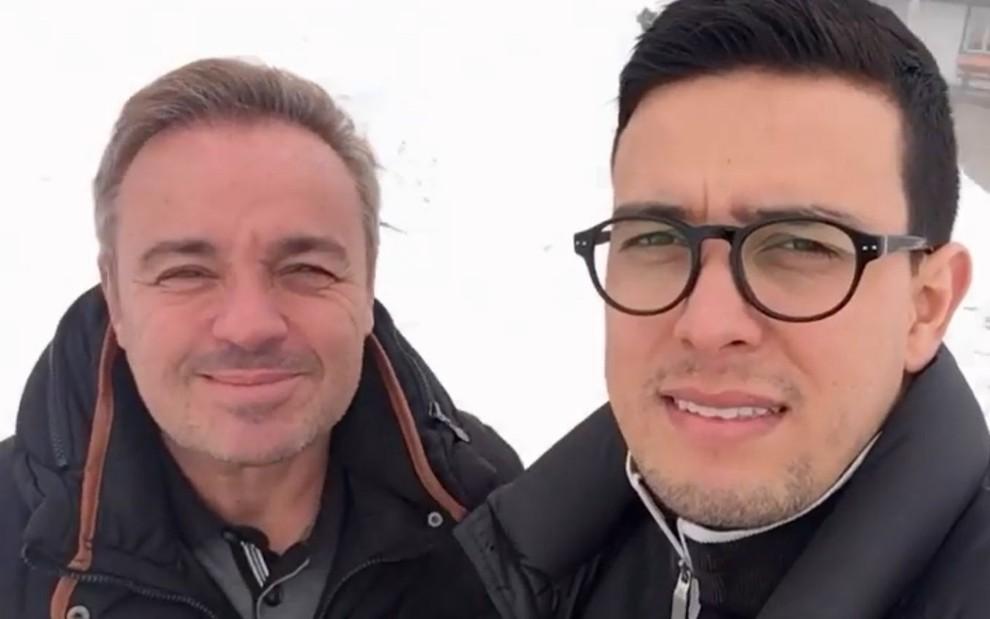 Gugu Liberato (1959-2019) e Thiago Salvático em Saint Gilgen, na Áustria, em publicação feita pelo chef em agosto de 2020