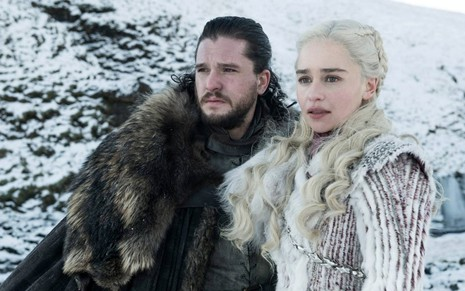 Jon Snow (Kit Harington) e Daenerys Targaryen (Emilia Clarke) na última temporada de Game of Thrones - HELEN SLOAN/HBO