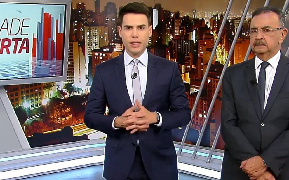 Luiz Bacci e Percival de Souza na edição de quarta-feira (24) do Cidade Alerta: empate com a Globo - REPRODUÇÃO/RECORD