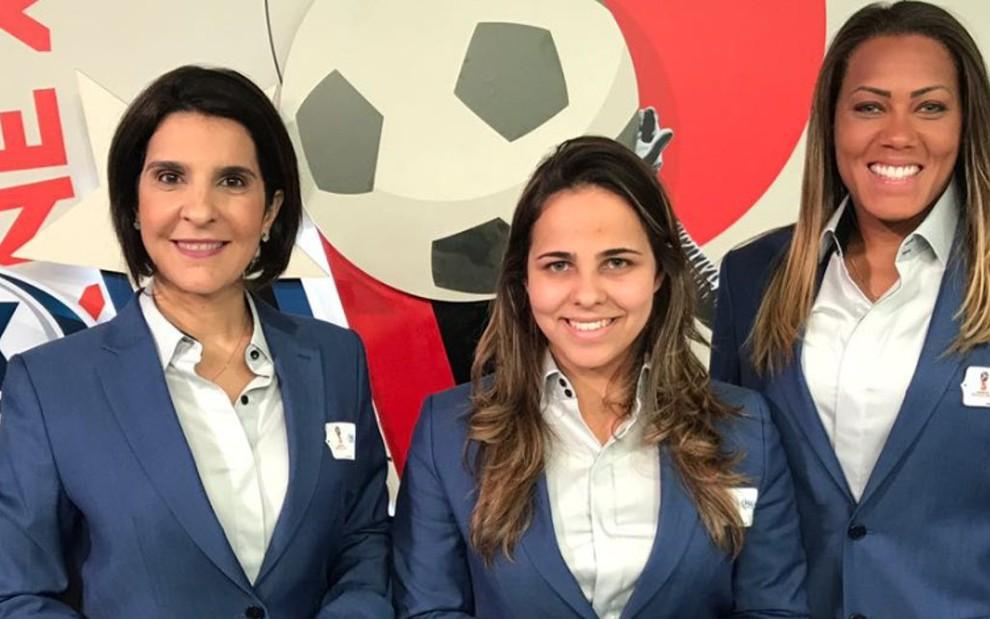 Vanessa Riche, Isabelly Morais e a goleira Bárbara Barbosa fizeram a transmissão de Brasil x Suíça - Reprodução/Twitter