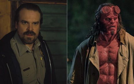 David Harbour como o xerife Hopper de Stranger Things e na pele do anti-herói Hellboy nos cinemas - Divulgação/Netflix e Lionsgate