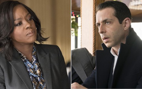 A atriz Viola Davis na quinta temporada de How To Get Away with Murder e Jeremy Strong na primeira temporada de Succession