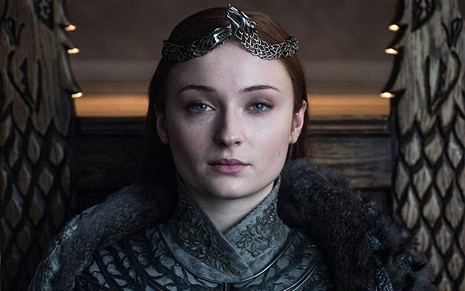 A atriz Sophie Turner, a Sansa Stark de Game of Thrones, em cena do último episódio do drama fantasioso