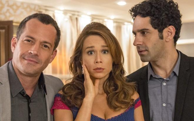 Malvino Salvador (Apolo), Mariana Ximenes (Tancinha) e João Baldasserini (Beto) - Renato Rocha Miranda/TV Globo