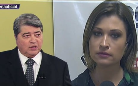 José Luiz Datena interage com Bruna Drews em link do Brasil Urgente, da Band