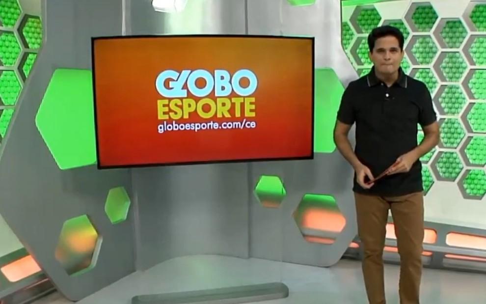 Kaio Cézar no comando do Globo Esporte Ceará: apresentador pediu demissão ao vivo - REPRODUÇÃO/TV GLOBO