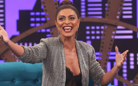 Juliana Paes no estúdio do Lady Night; ela participa do segundo episódio da terceira temporada - Gianne Carvalho/Multishow