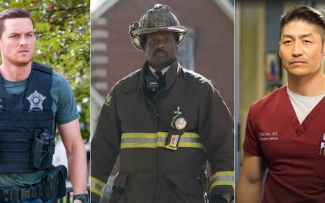 Os personagens Jay (Jesse Lee Soffer), de Chicago P.D; Boden (Eamonn Walker), de Chicago Fire; e o médico Ethan (Brian Tee), de Chicago Med