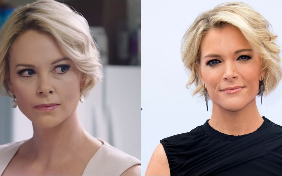 A atriz Charlize Theron no trailer do filme O Escândalo, no qual interpreta a jornalista Megyn Kelly